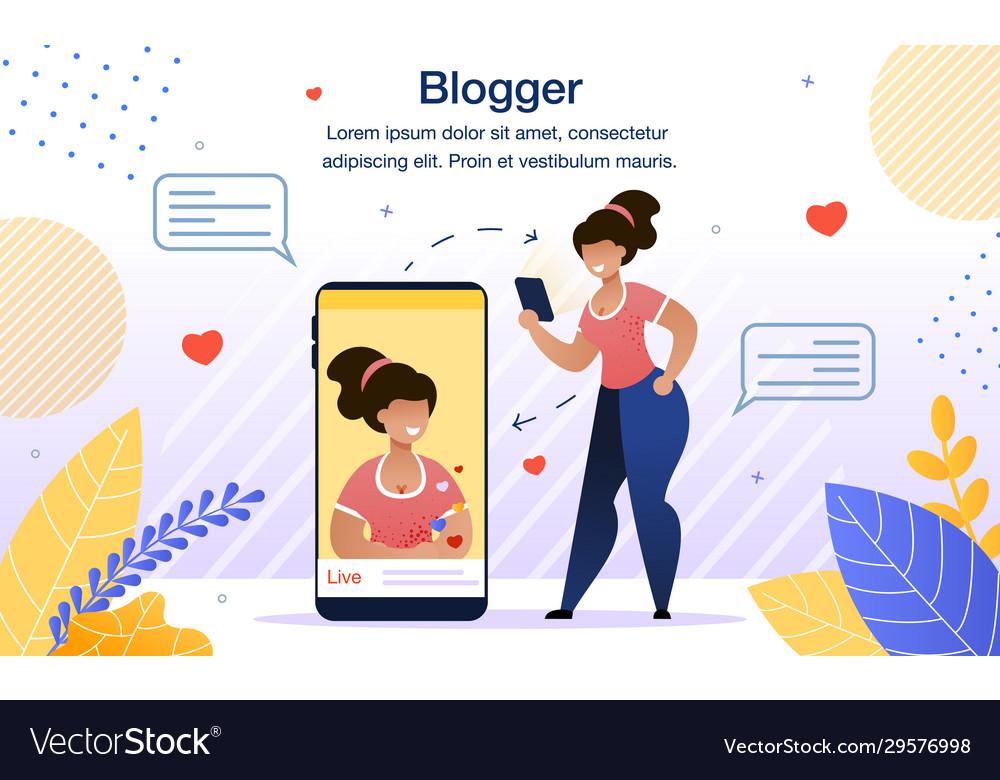 Modern female blogger flat poster template