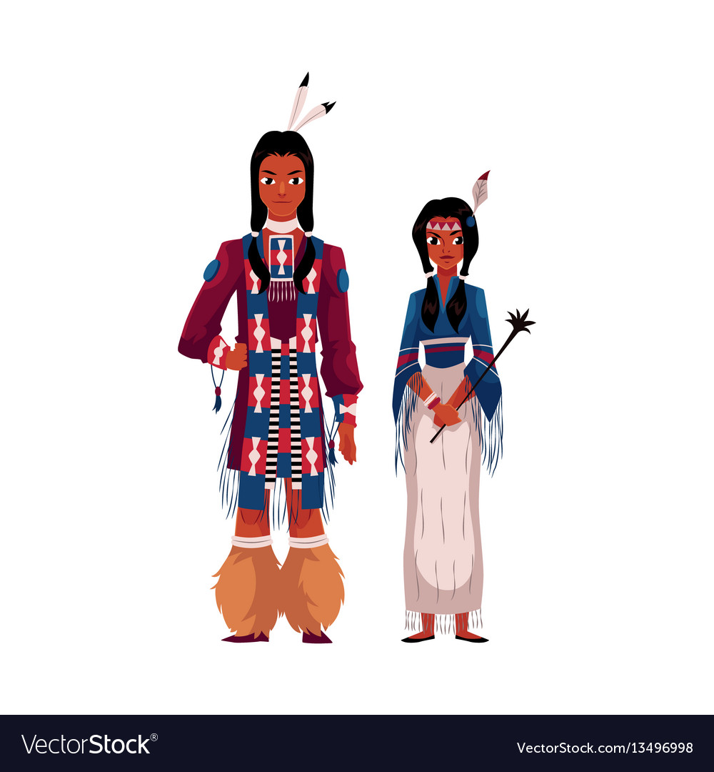 Native american indian couple in traditional