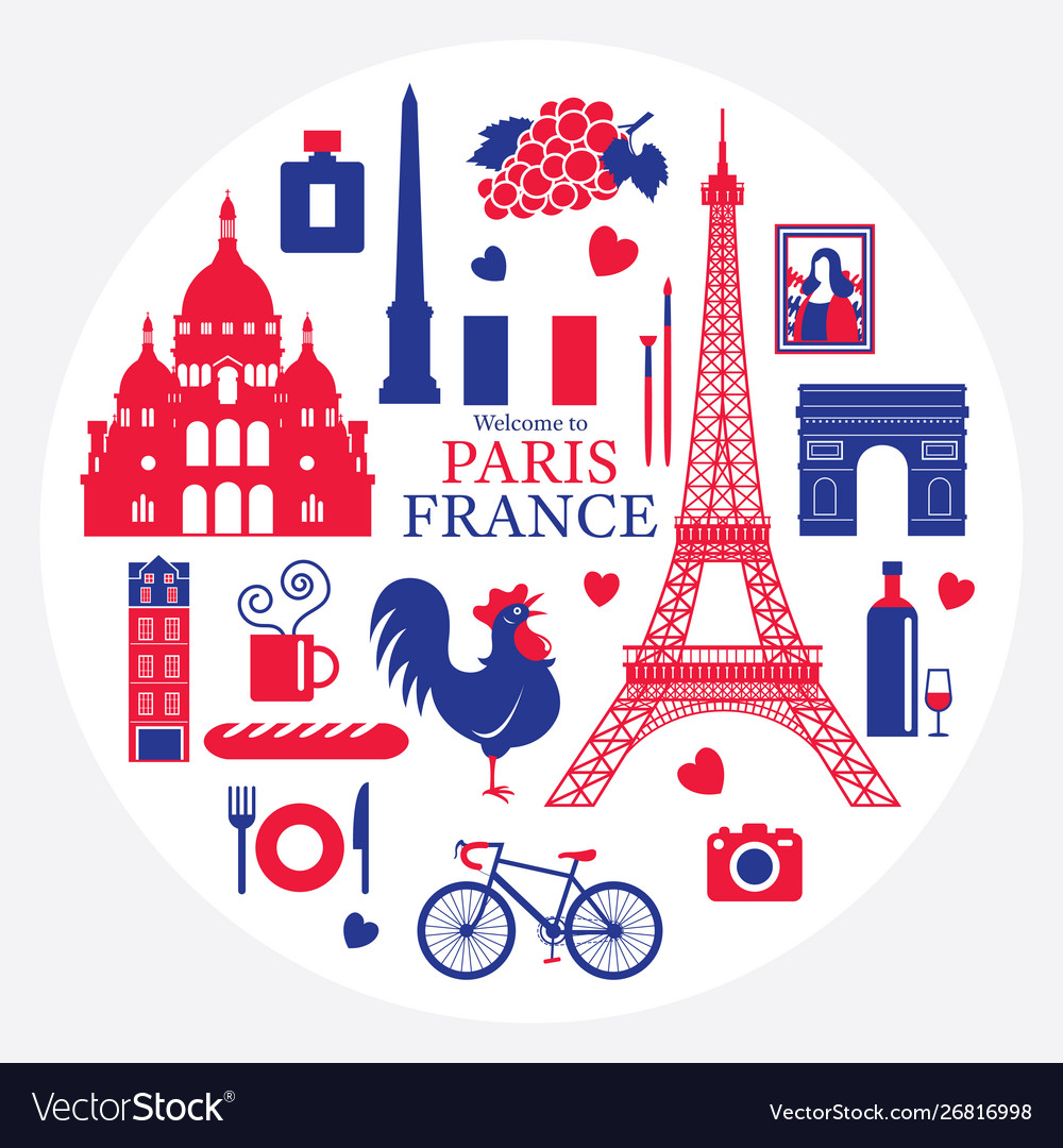 Paris france landmarks and travel objects label