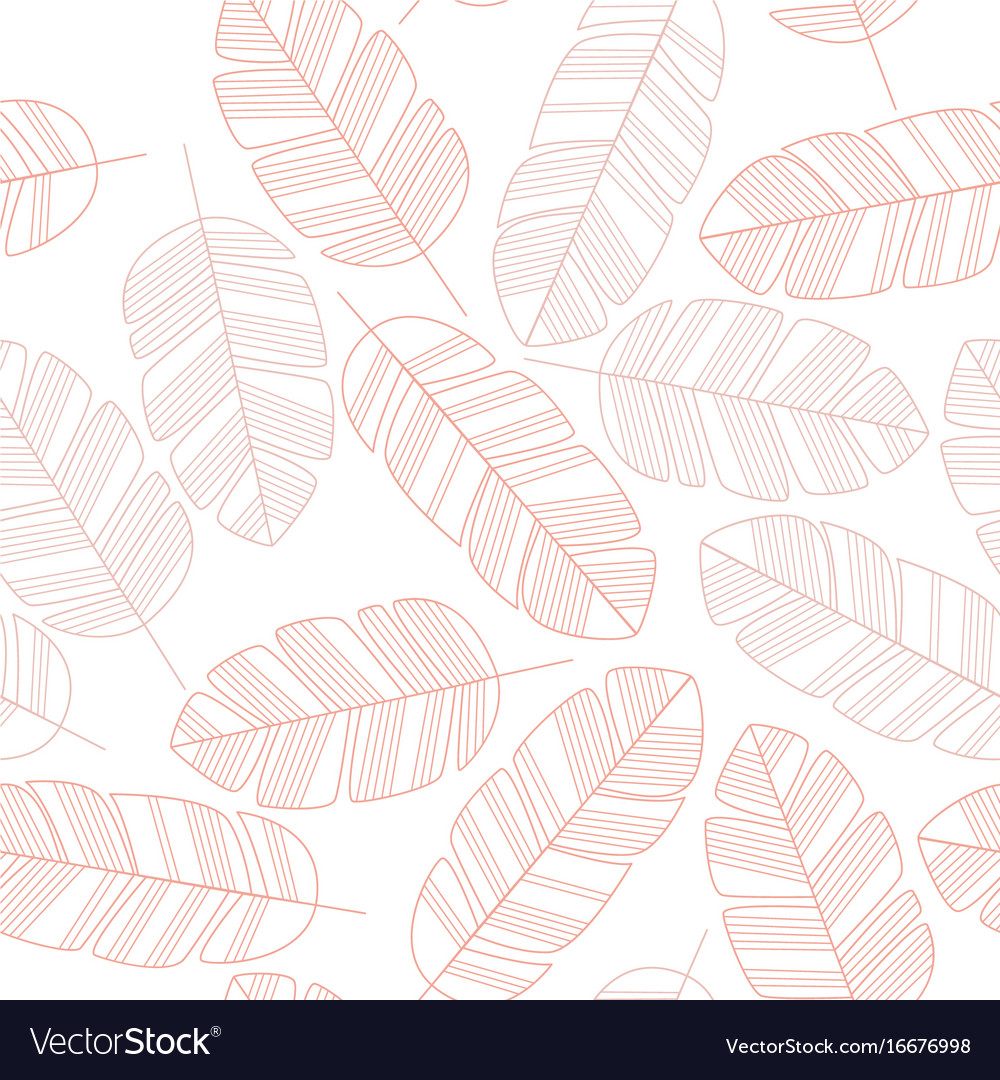 Seamless pattern with pink leaves on white