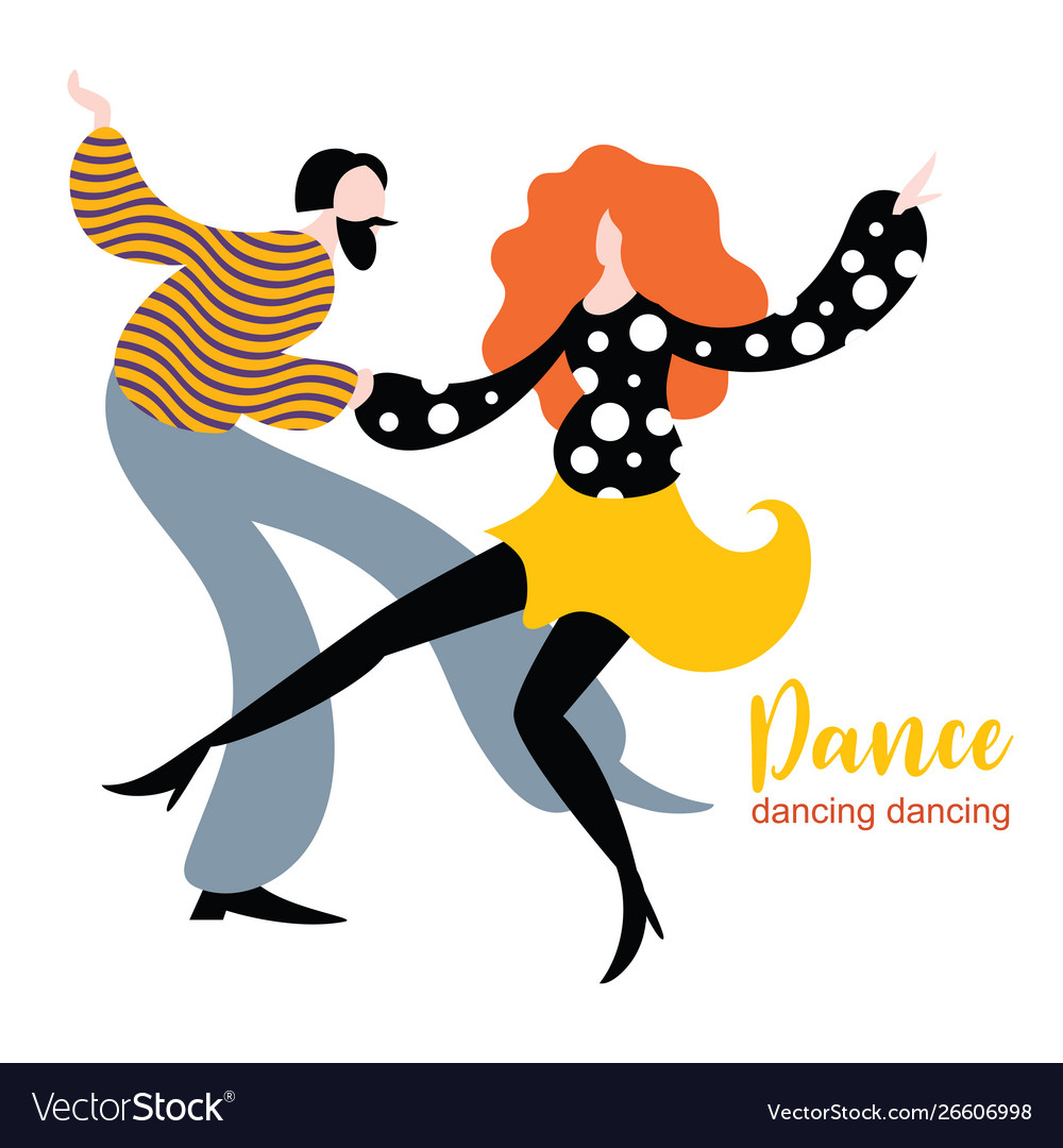 Stylized figures dancing woman and man