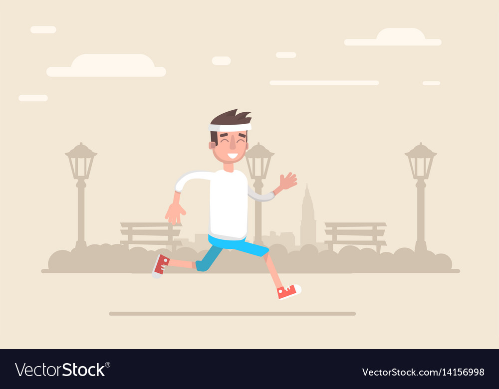 Young man jogging in the park does