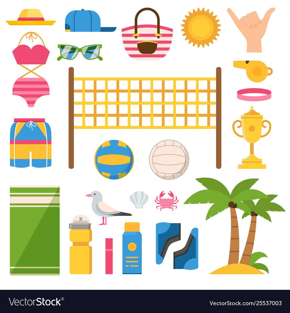 Beach volleyball equipment icons set