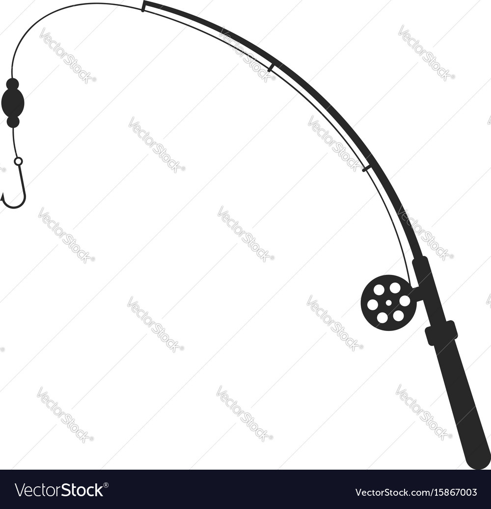 Black fishing rod silhouette vector image