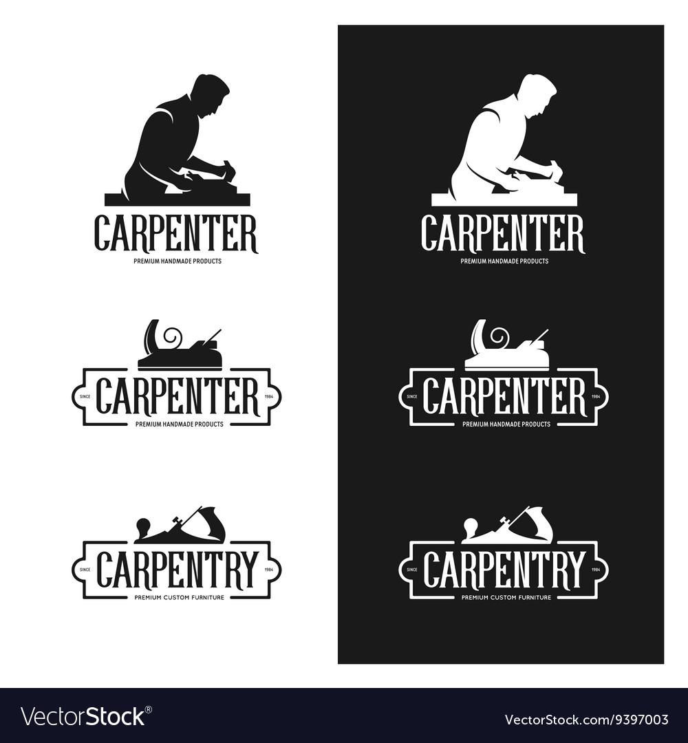 Carpentry vintage labels set Carpenter emblems