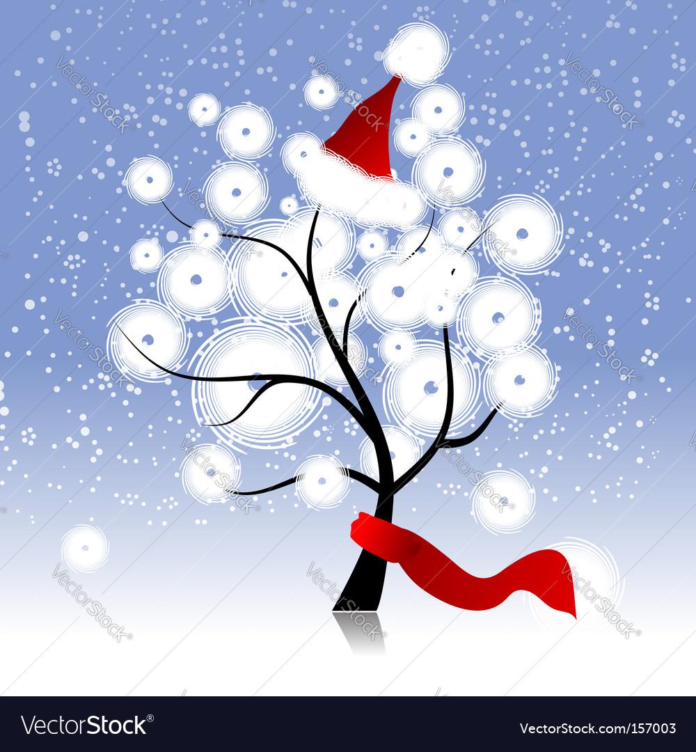 Christmas hat on winter tree