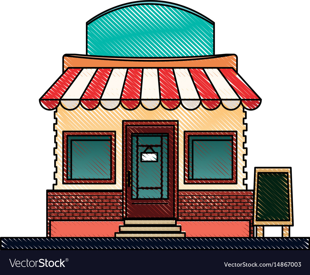 Drawing store market business shop building