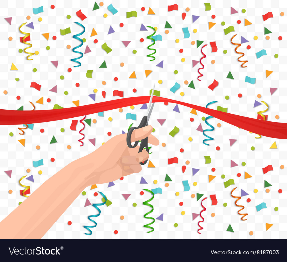 Hand holding scissors and cutting red ribbon on