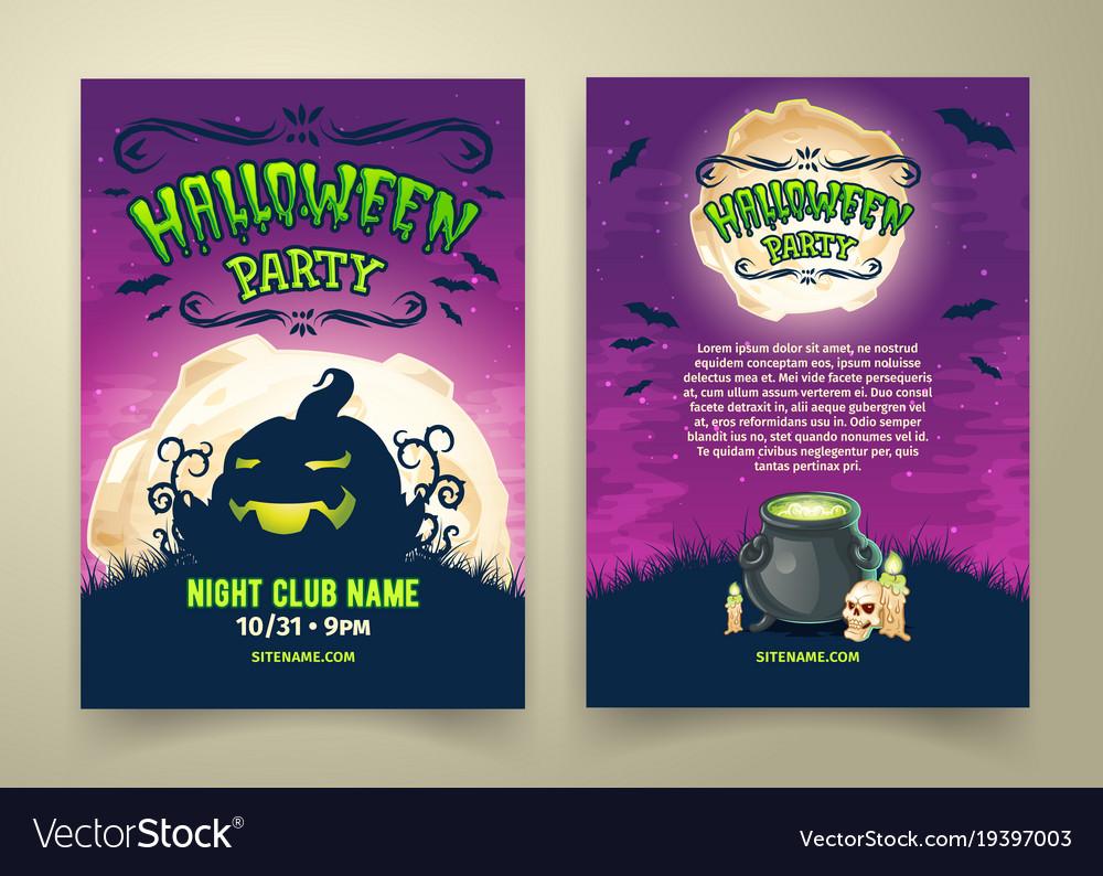 happy halloween party invitation template vector image