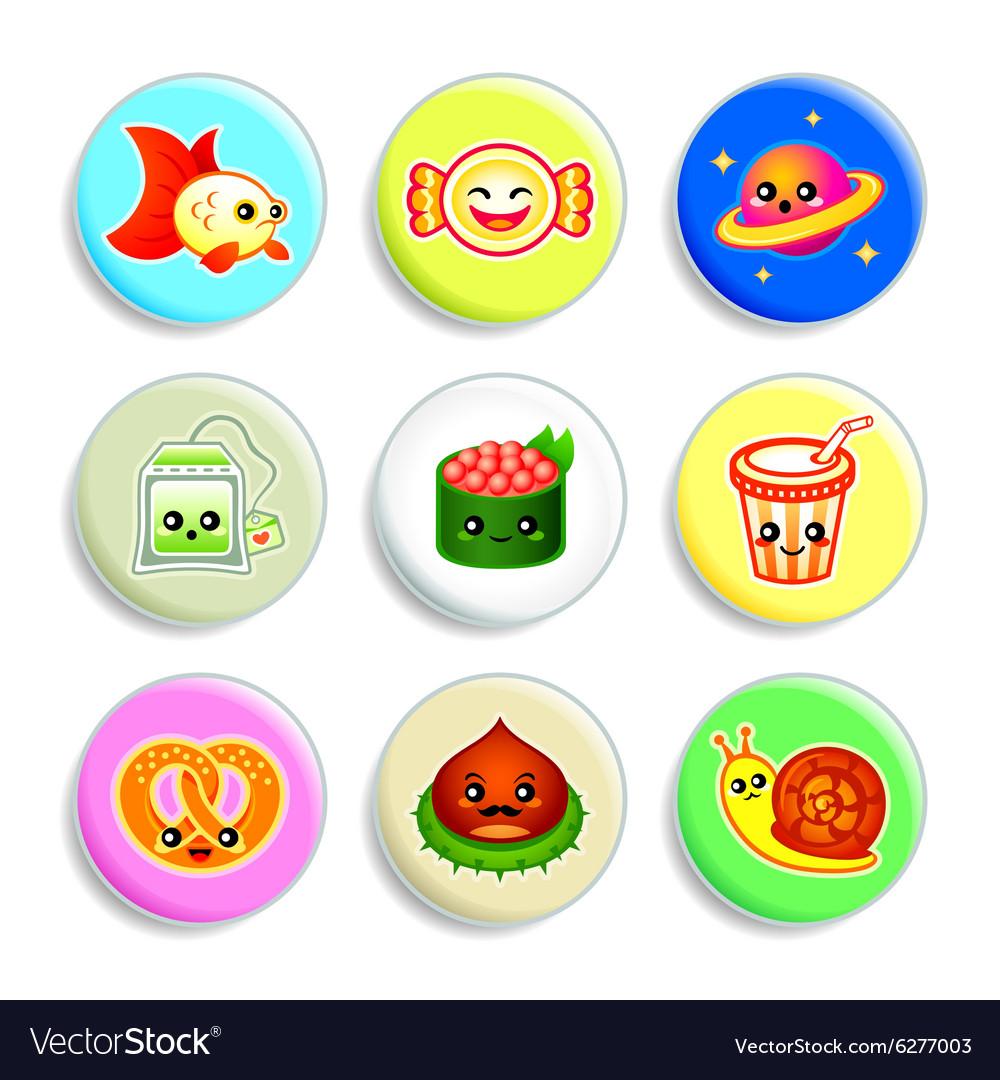 Kawaii badges - set IV vector image