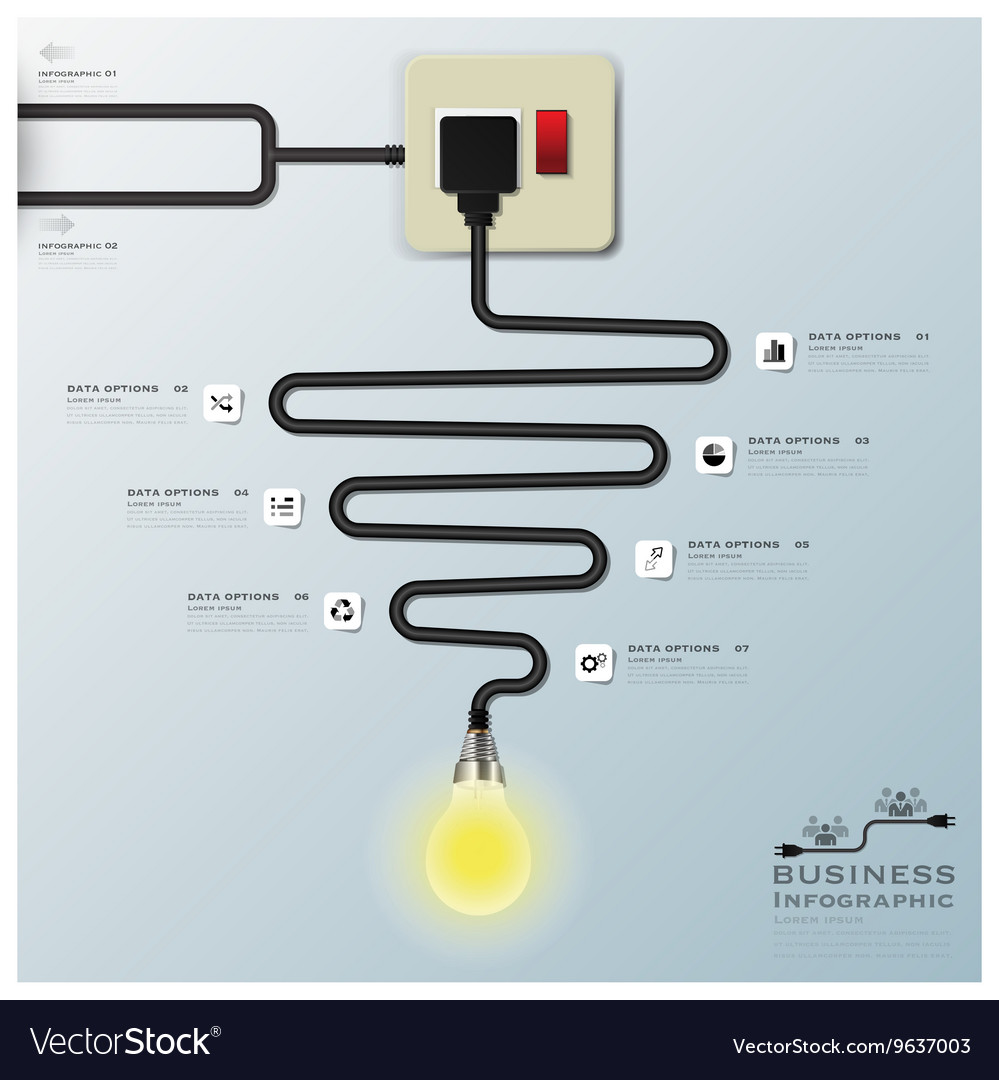 Light Bulb Electric Wire Line Business Infographic Wiring A Vector Image