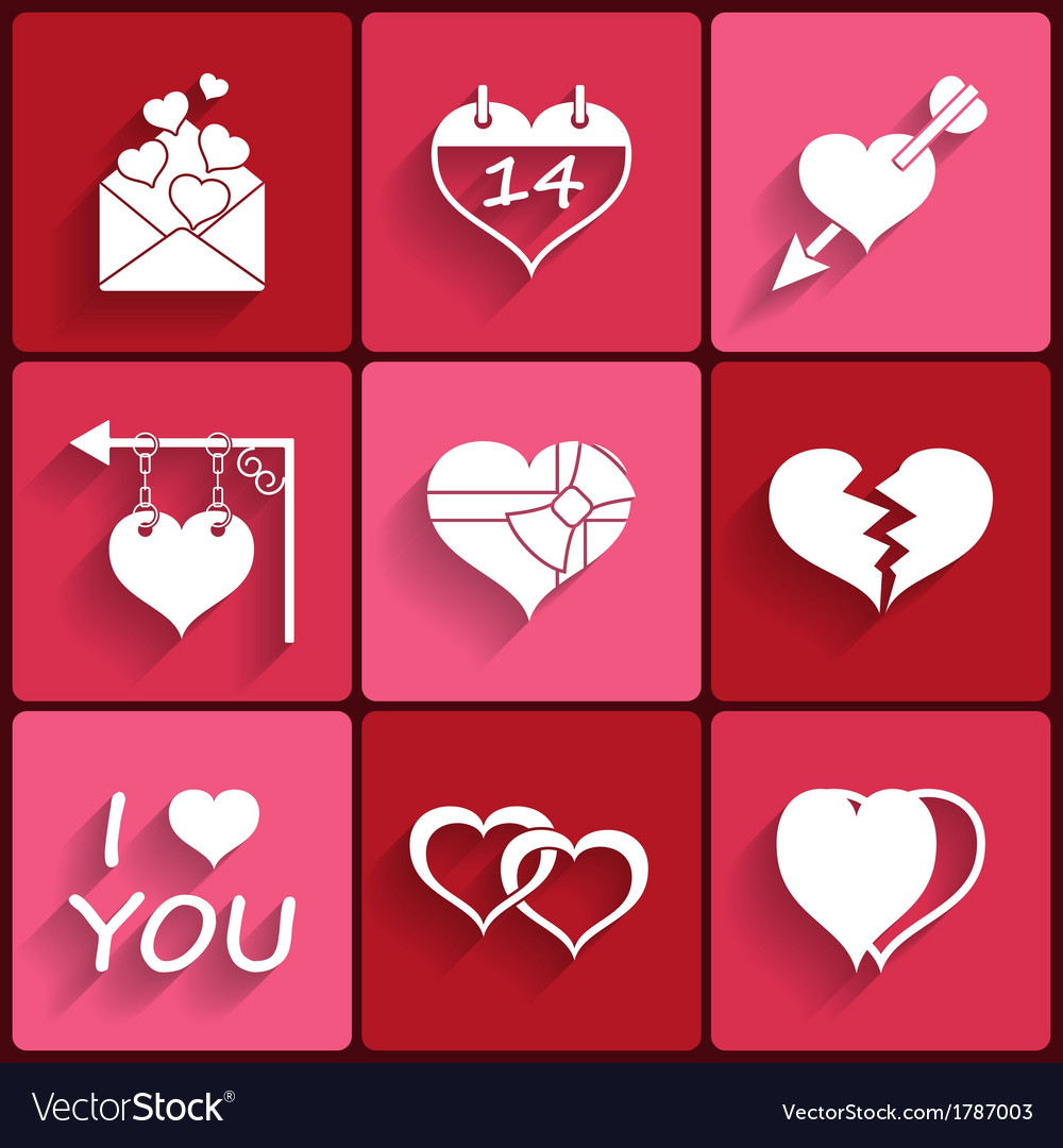 Set Icons Of Valentines Day Red Hearts Signs Vector Image