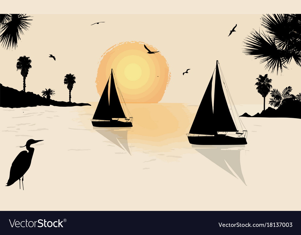Silhouette of a sailingboats at the sea on
