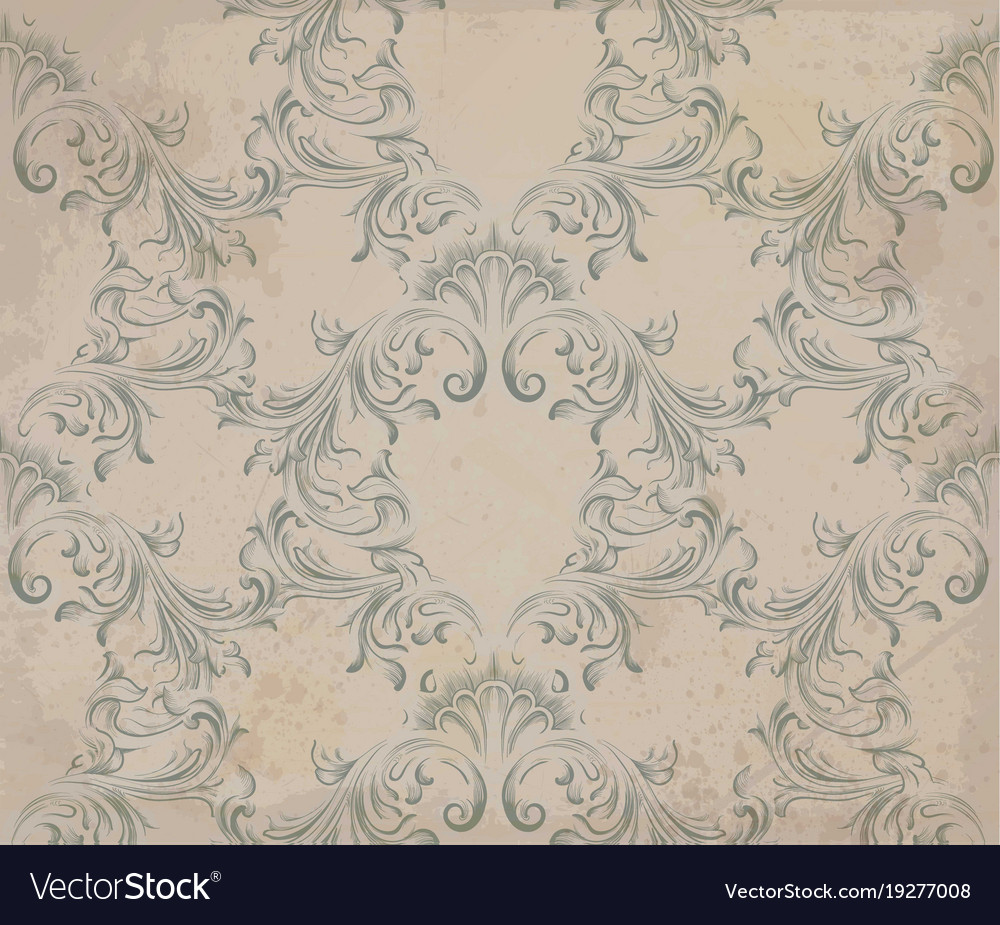 Baroque Ornament Pattern Old Paper Royalty Free Vector Image