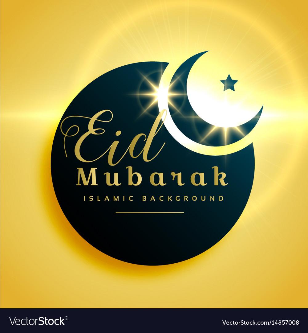 beautiful eid mubarak greeting card design with vector image
