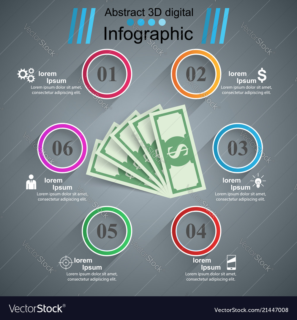 Business infographics dollar money icon