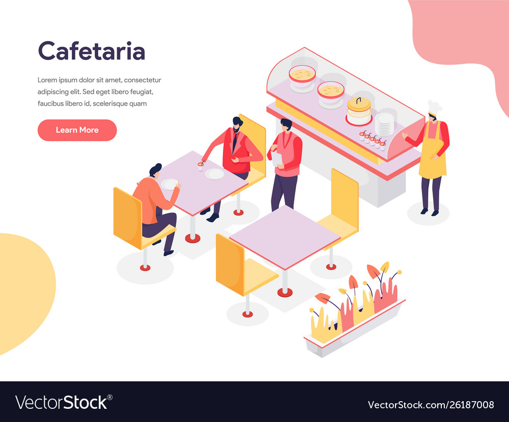 Cafetaria concept isometric design concept web