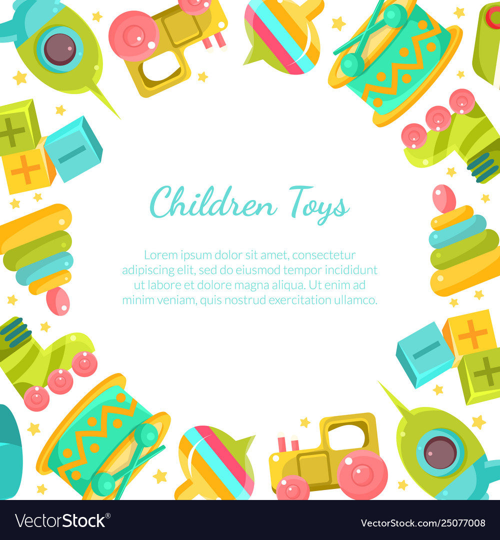 Chidren toys banner with place for text in