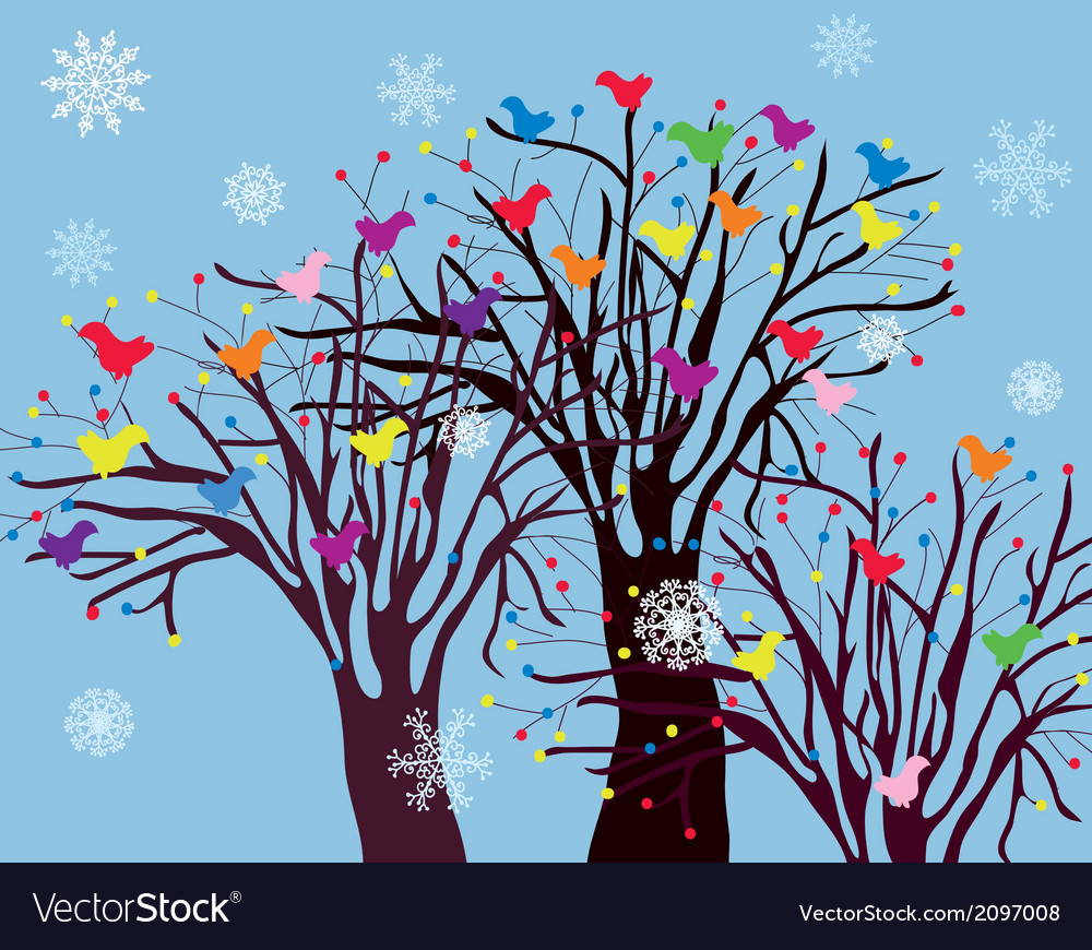 Christmas background with trees birds and snow