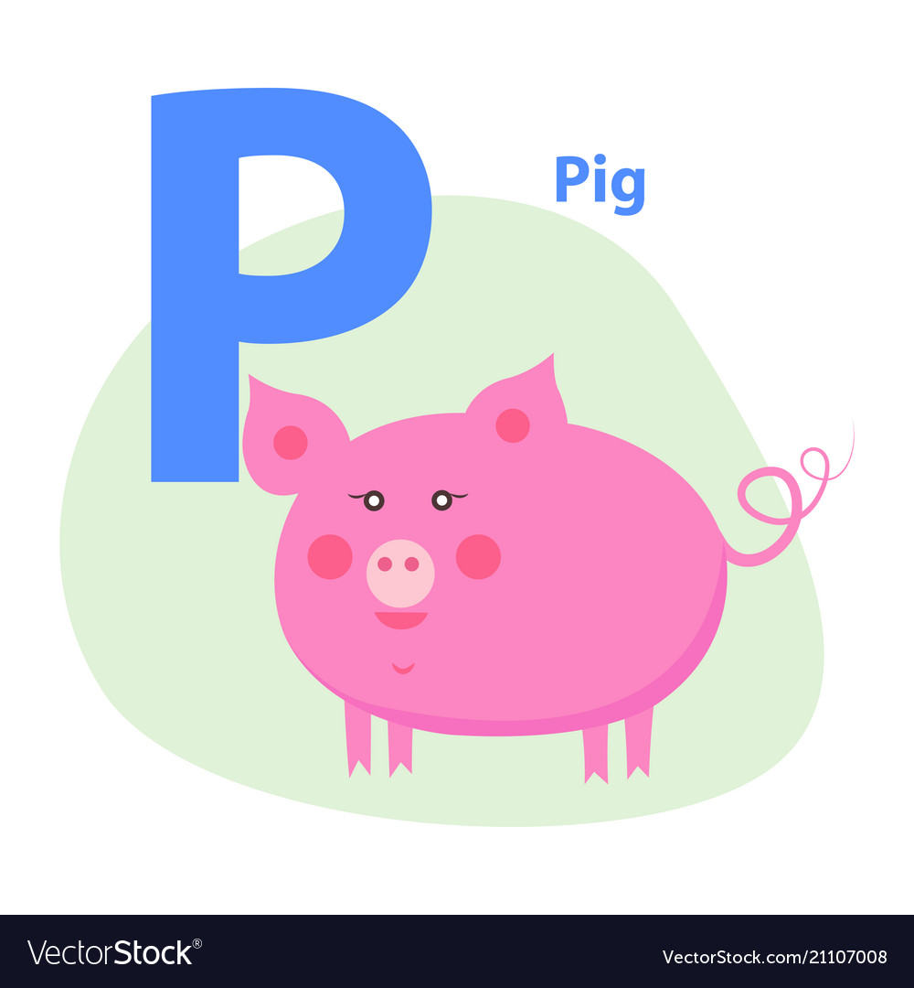 Cute pink pig on alphabet icon character p drawn