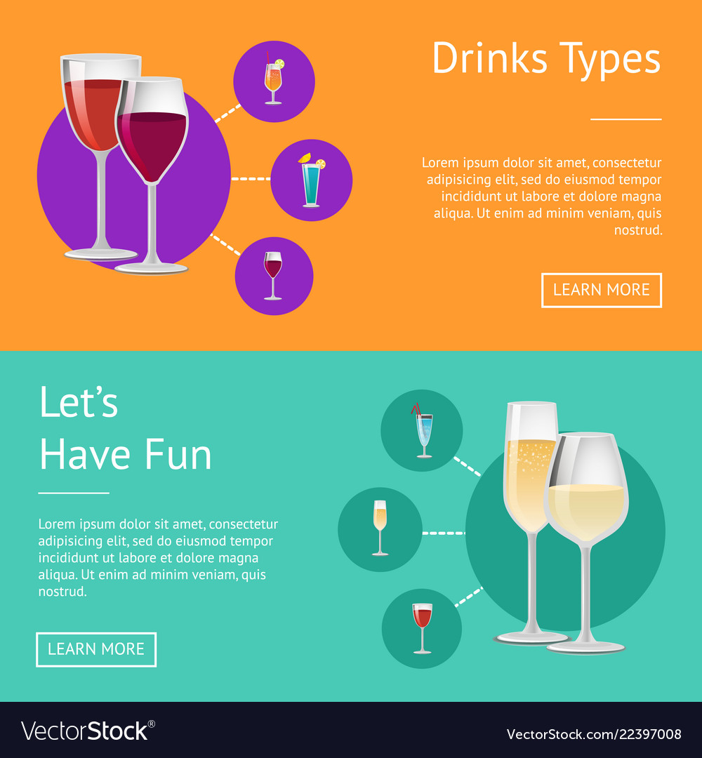 Drinks types lets have fun cocktails web posters