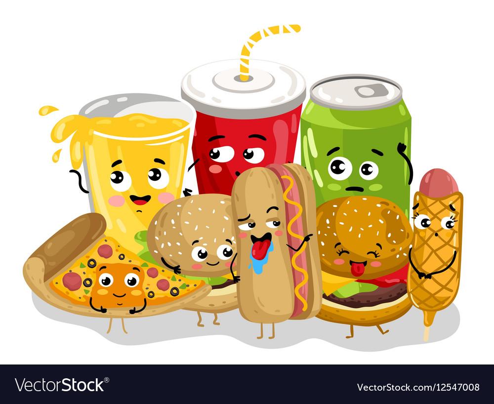 Funny fast food menu cartoon character vector image