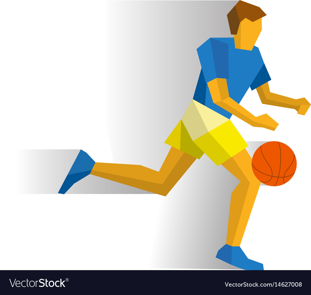 Running basketball player isolated on white