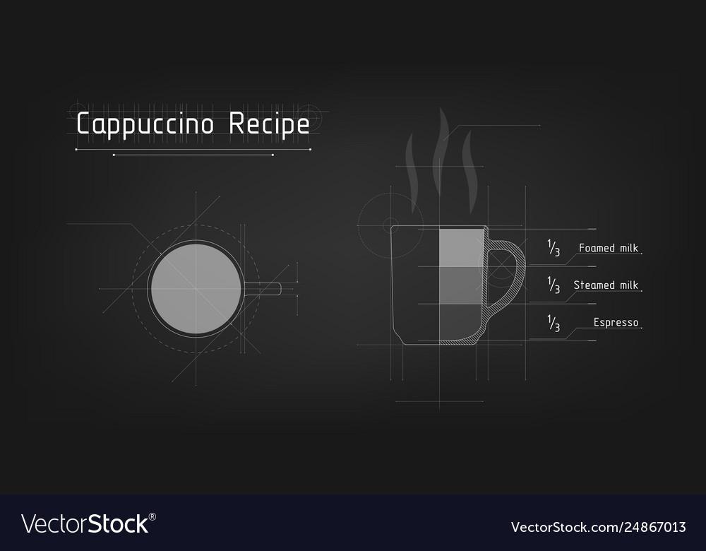 A cup cappuccino tech design recipe