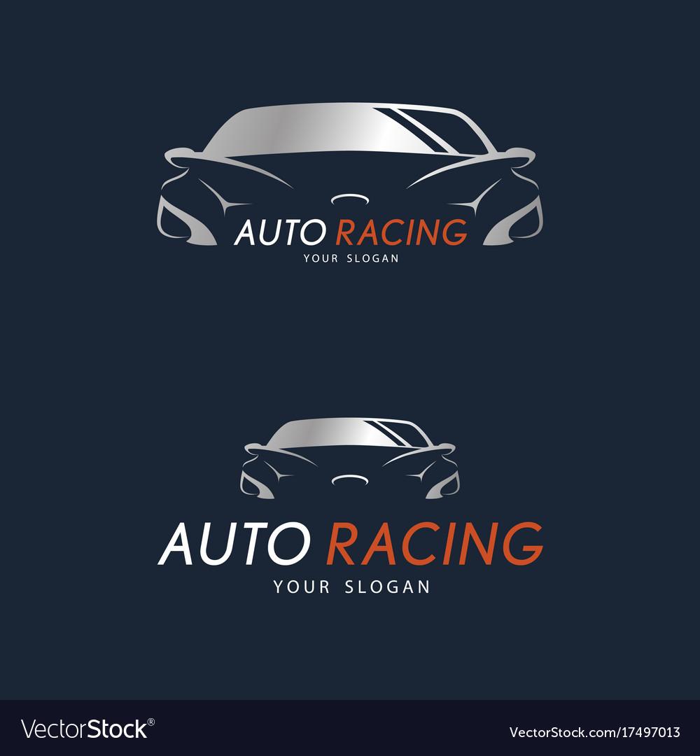 Auto racing symbol on dark blue background silver vector image