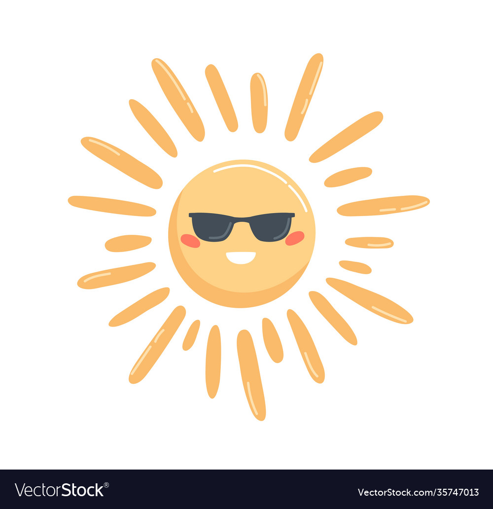 Bright yellow sun in glasses with happy face