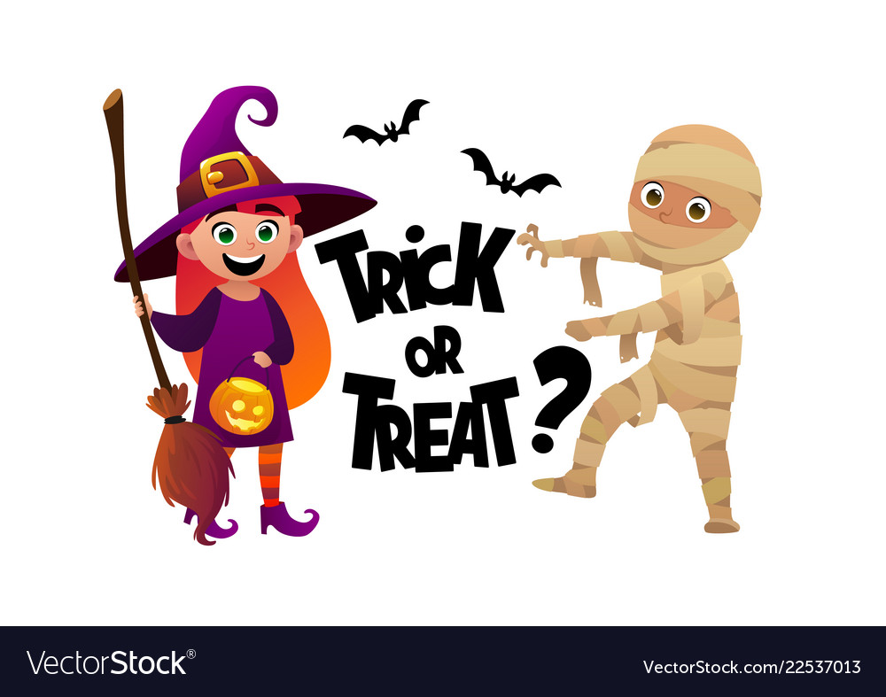 Cartoon children witch and mummy costume trick or