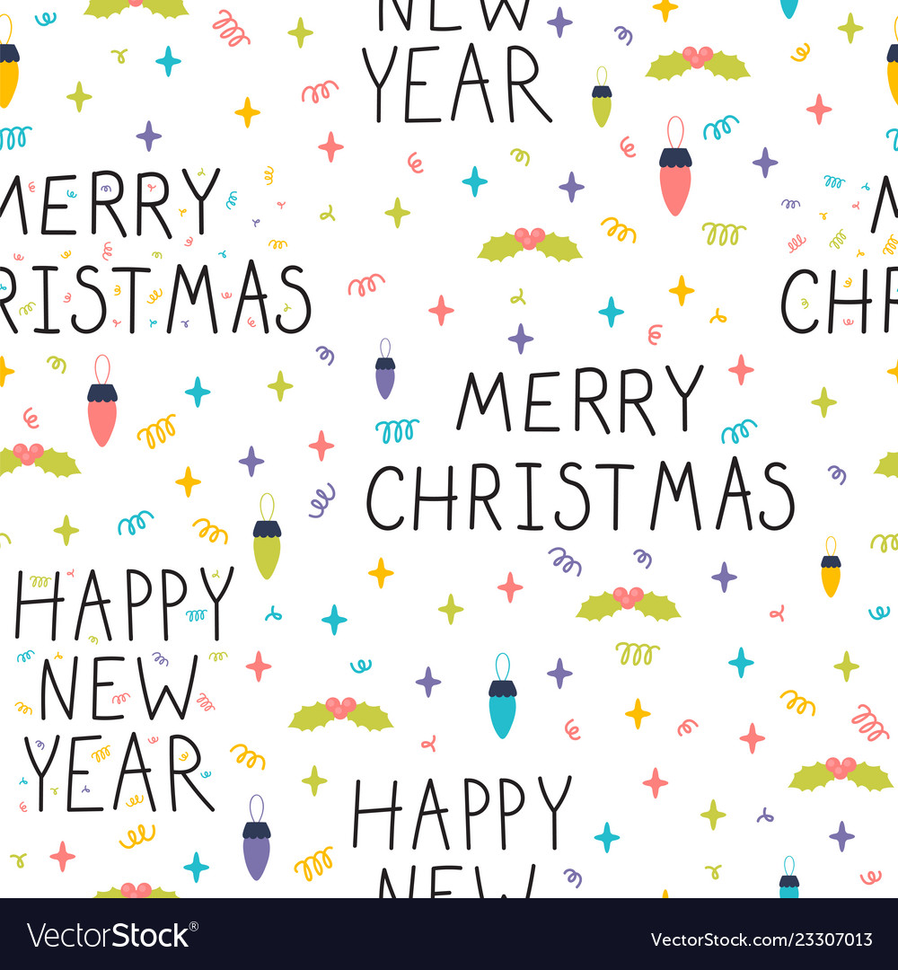 Christmas and new year seamless pattern winter