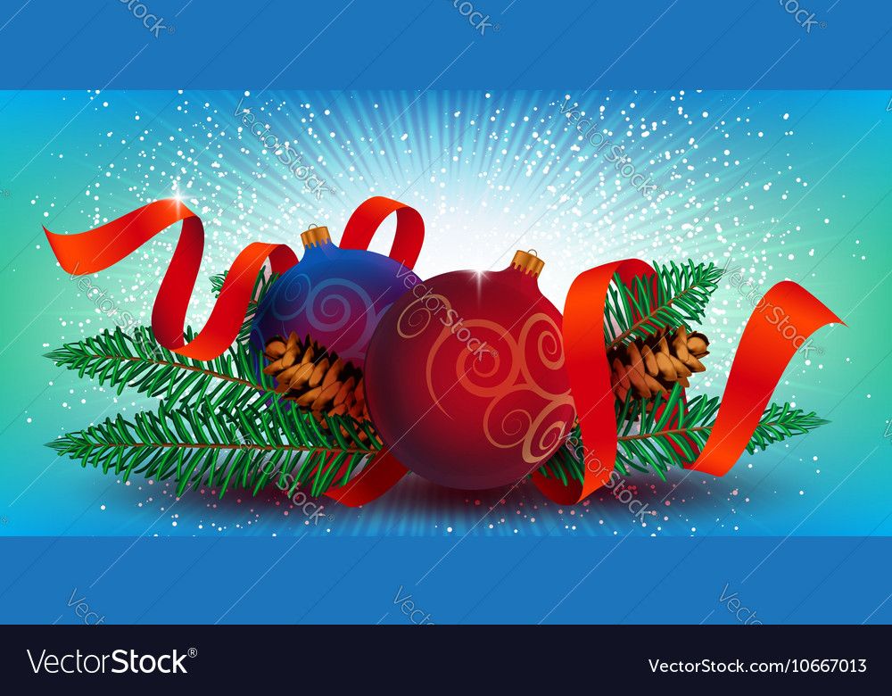 Christmas Decoration with ribbon and fir branches