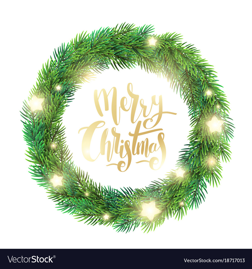 Christmas wreath of fir branches glowing stars