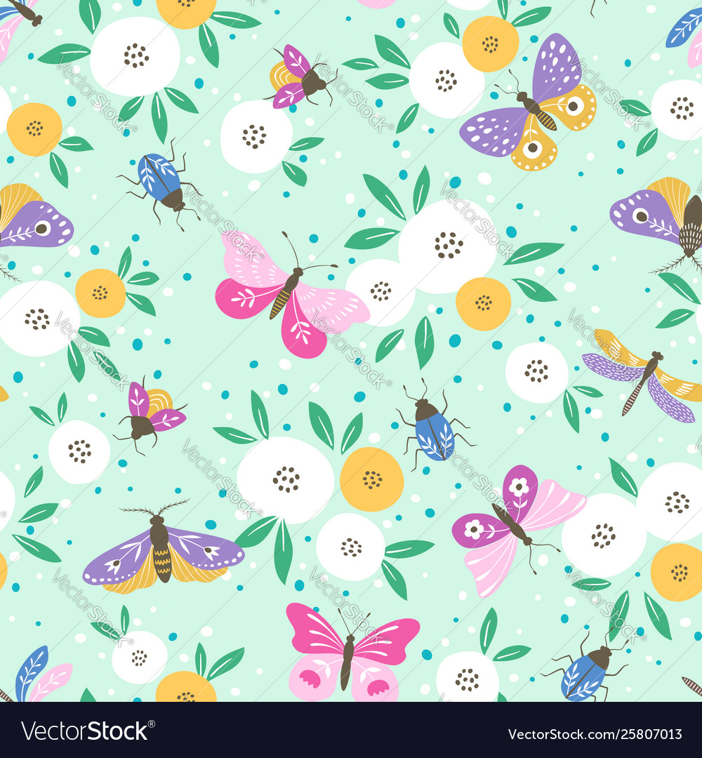 Flower pattern with colorful butterflies
