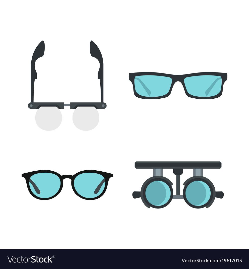 Glasses icon set flat style