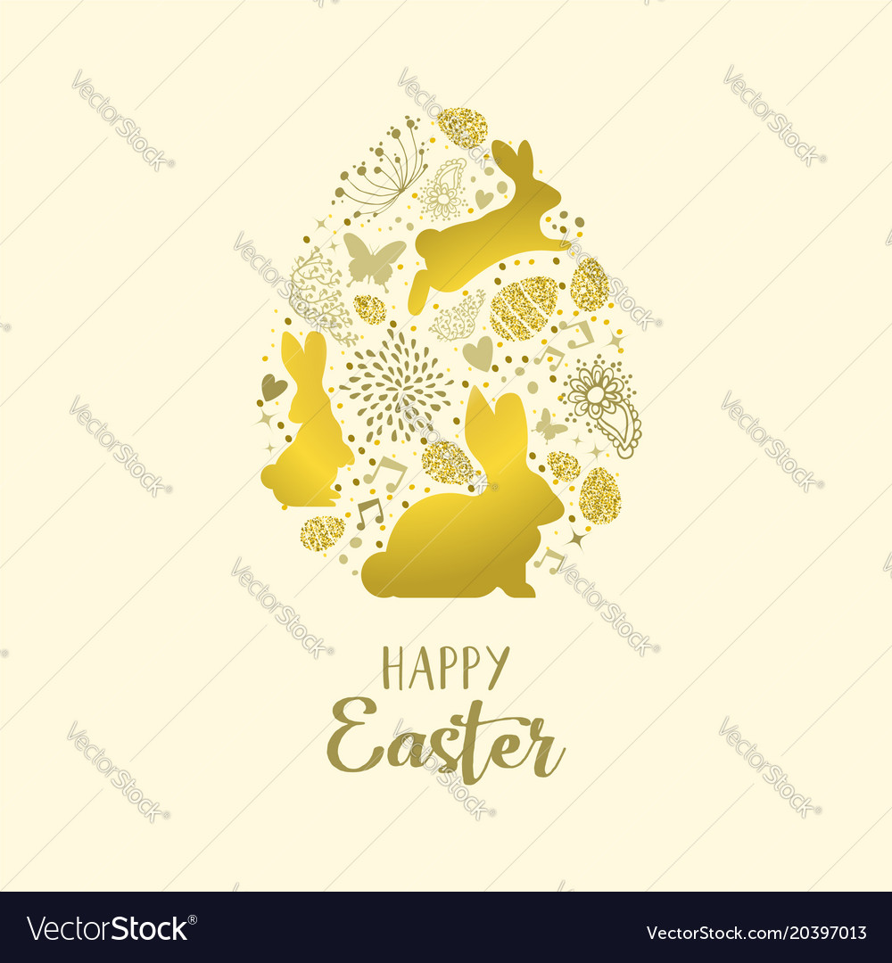 Happy spring easter greeting card in gold glitter vector image m4hsunfo