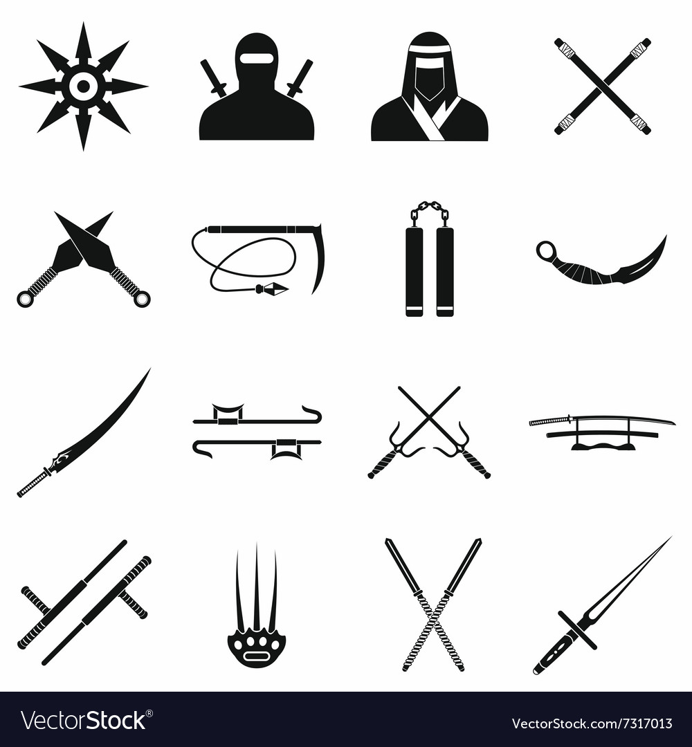 Ninja black simple icons set