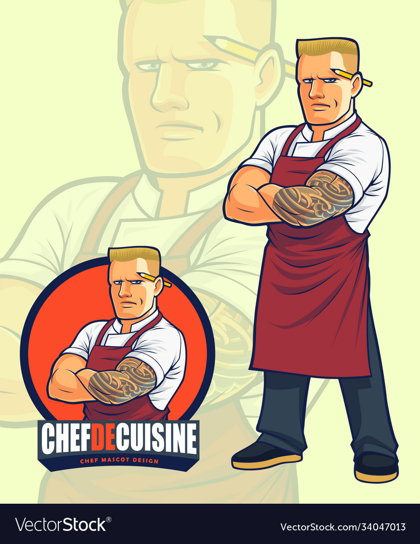 Scary chef mascot design for or logo design