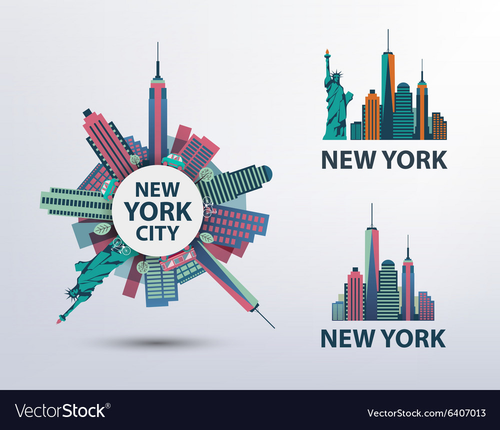 Set of NYC New York City icons logos
