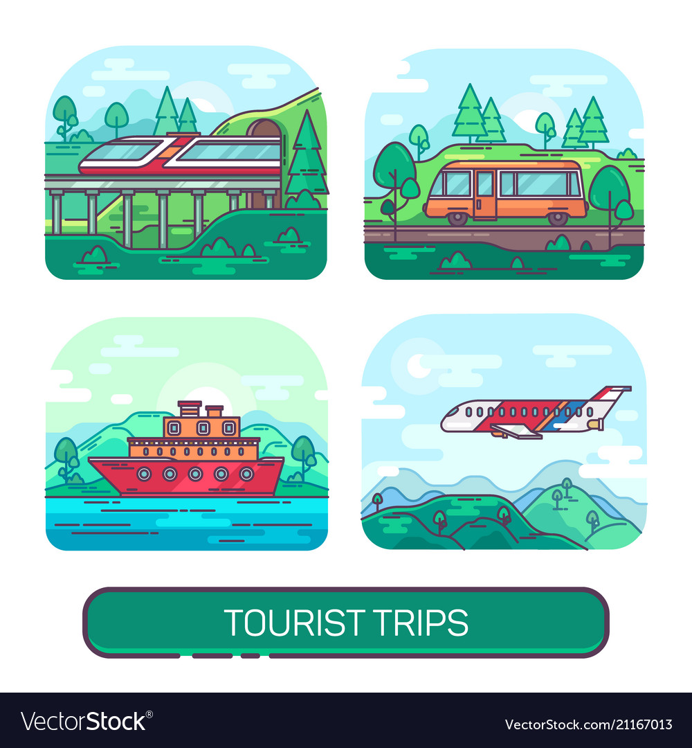 Set of summer transport for travel and activity