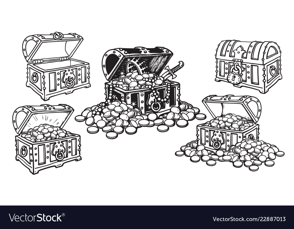 Set pirate treasure chests in sketch style open