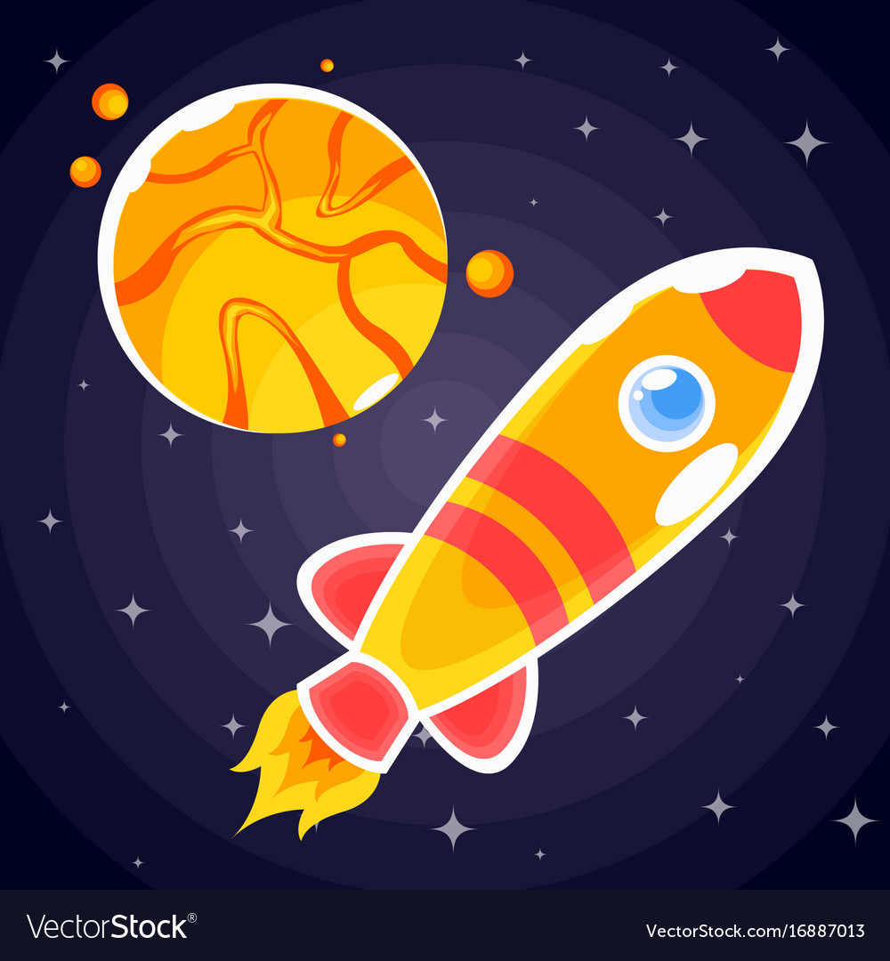 Sticker in the form of an orange rocket that fly