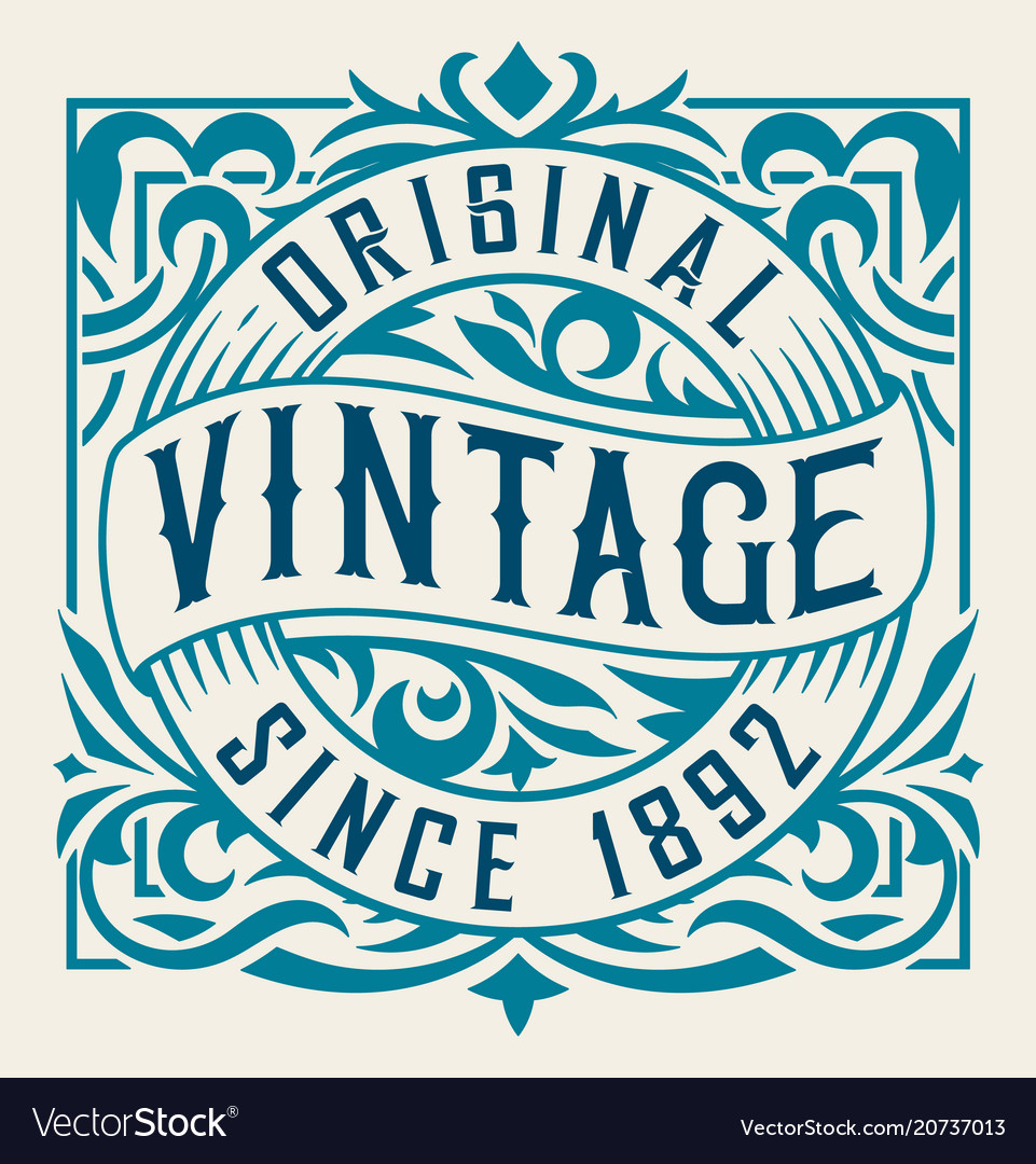 Vintage label with floral details vector image