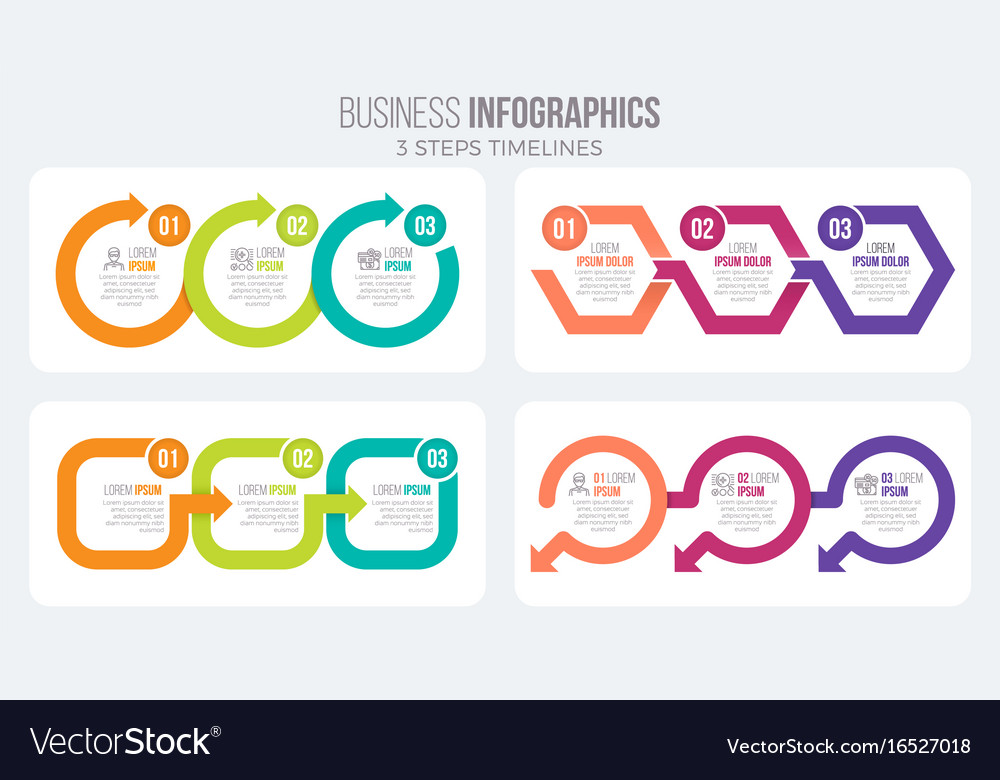 3 steps timeline infographic template with arrows
