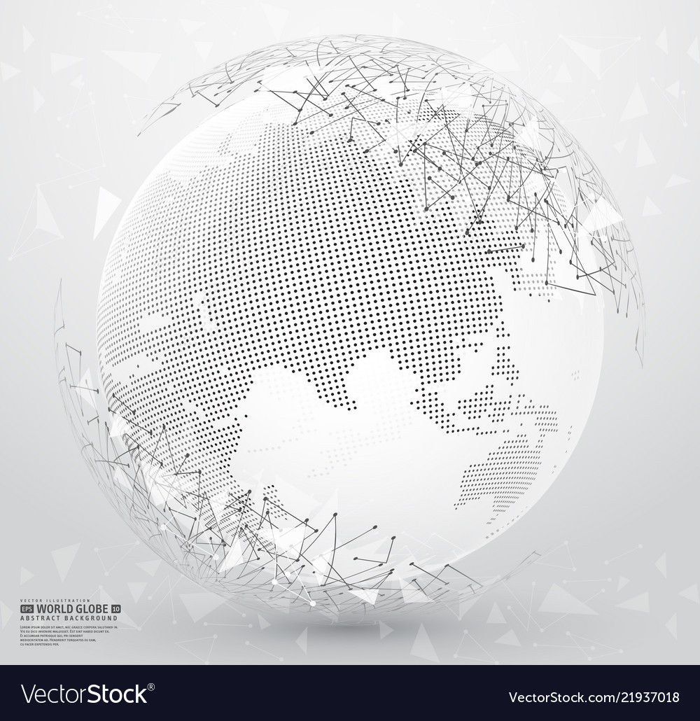 Abstract planet earth with polygonal connecting