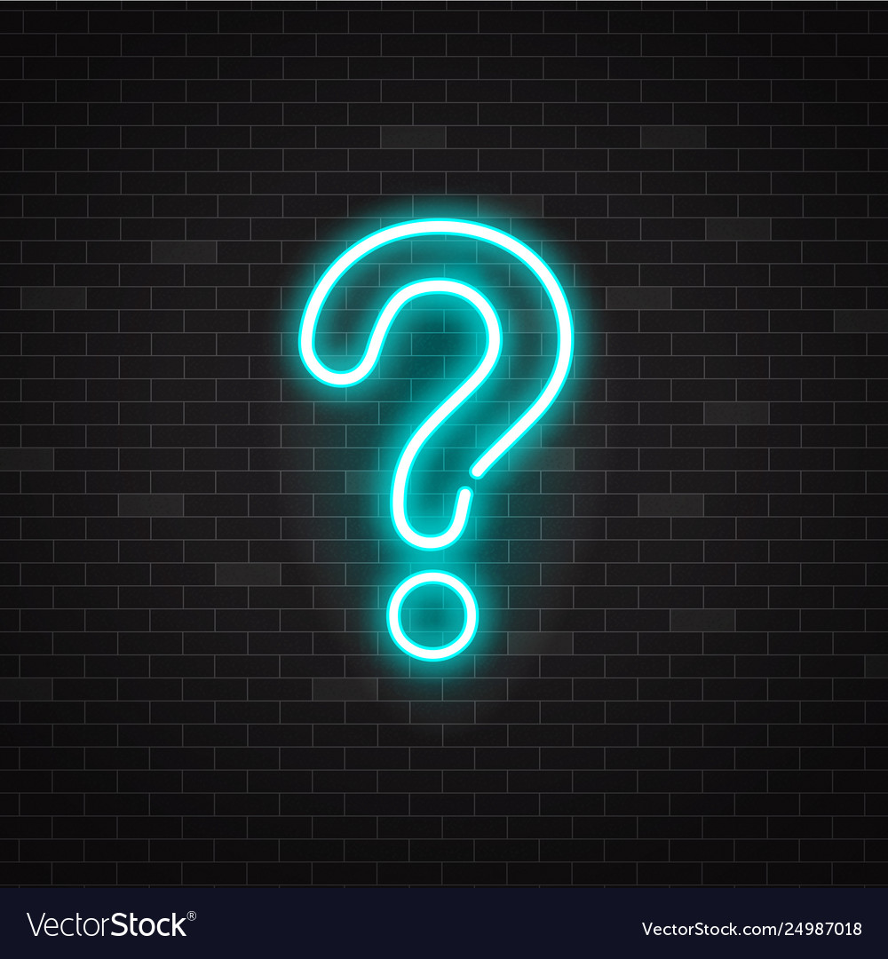 Blue glowing outline neon question mark or sign on