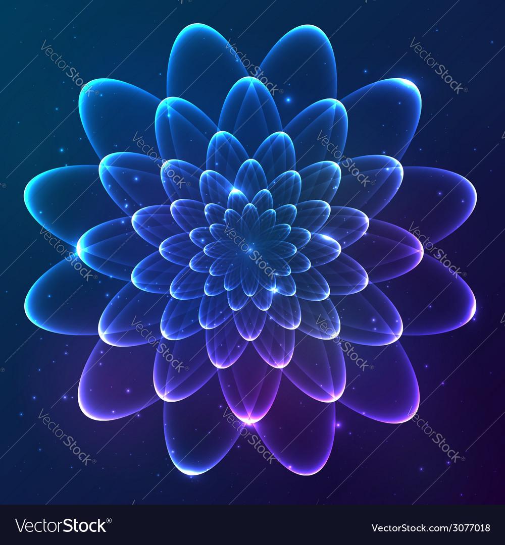 Blue shining cosmic flower