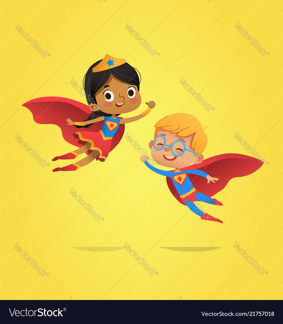 Boy and african american girl wearing costumes of