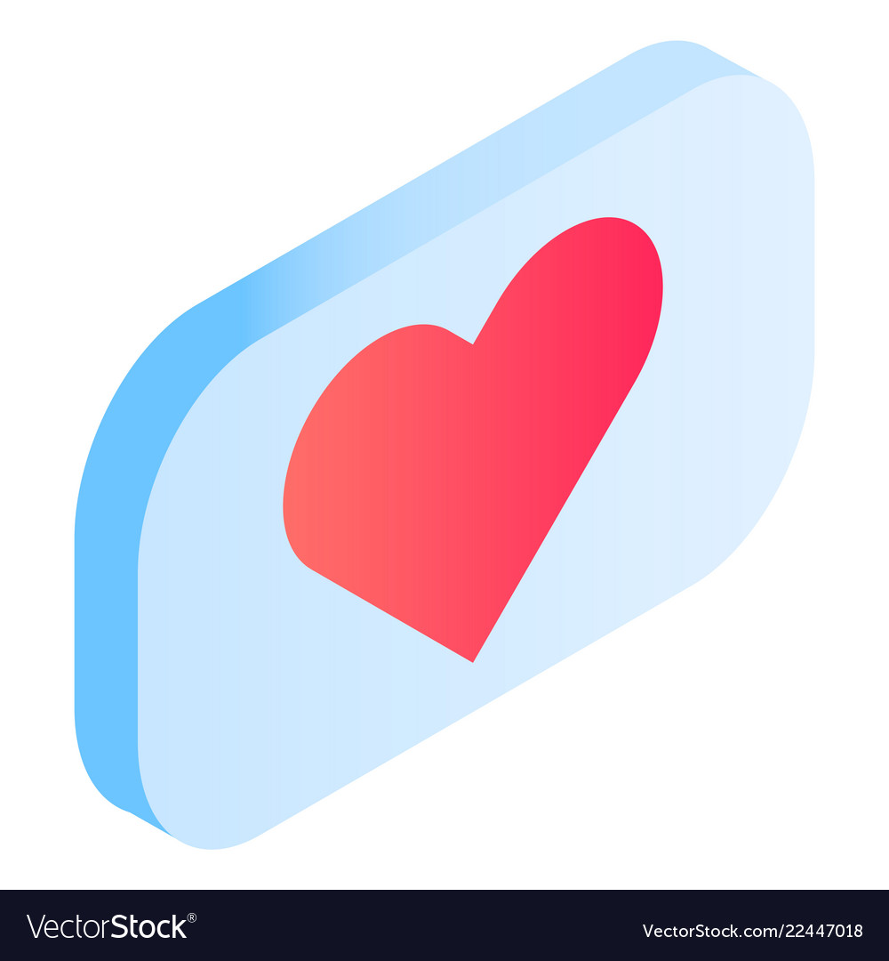 Chat heart icon isometric style